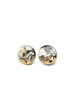 Grey Porcelain Earrings with Gold & Platinum