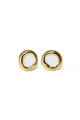 White Porcelain Round Earrings with Gold Edge