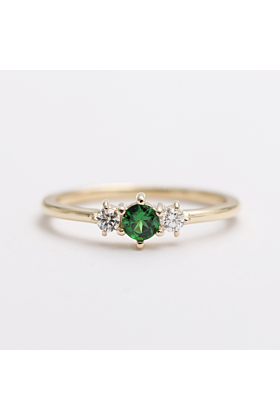 14kt White Gold & Green Tsavorite Diamond Engagement Ring