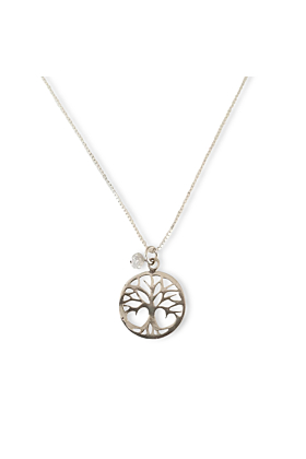 Silver Tree of Life Necklace with Raw Diamond Bead