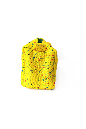 Yellow Embroidered Luxury  Pouch-  Large