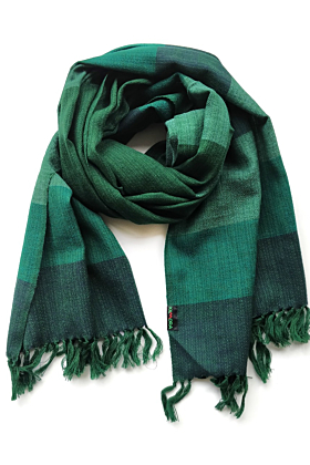 Green Bold Checks Pattern Merino Wool Scarf