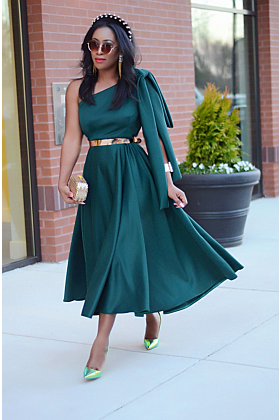 Green One Hand Tie Midi Dress