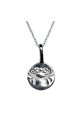 Sterling Silver Cancer Zodiac Sign Charm Necklace