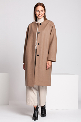SALE Wool Coat Melton In Beige