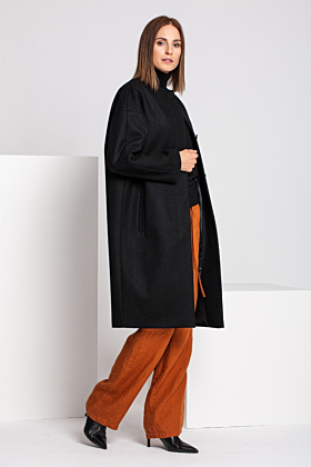Wool Coat Melton In Black