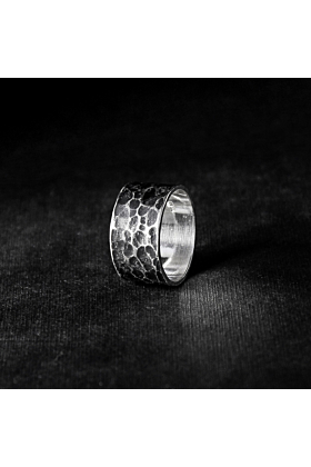 Sterling Silver Oxidized Hammered Ring
