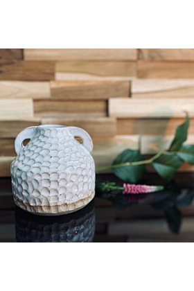 Two Handmade White Vase With Handle and Texture