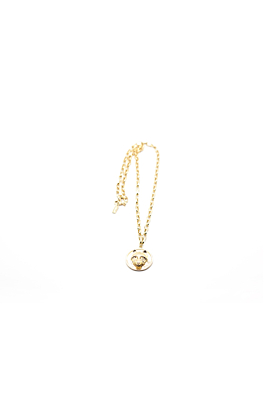 Gold Long Wolf Disc Necklace