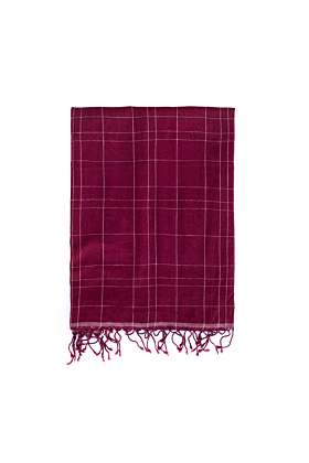 Organic Cotton Brick Red and White Checked Scarf
