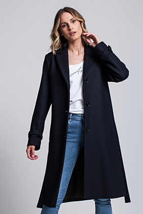 Wool Coat Moderation In Dark Navy