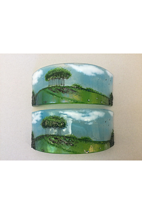 Fused Glass Textured Curve Nearly Home Trees