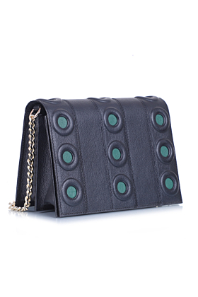 Black-Green Leather Cherie Bag