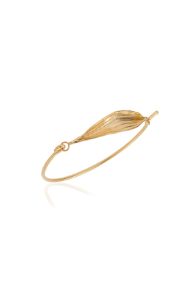 24kt Gold Plated Rigid Olive Leaf Cuff