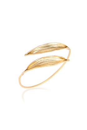24kt Gold Plated Double Olive Leaf Cuff