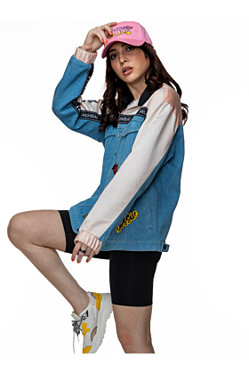 FKNS Blue Denim Embroidered Oversized Bomber Jacket