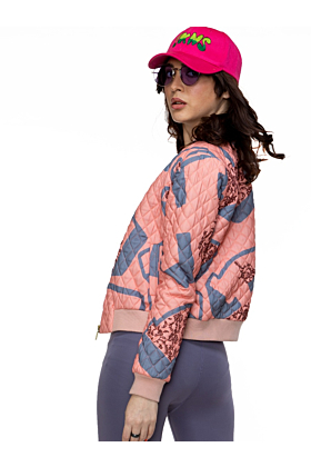 FKNS Peach Printed Quilted Jacket