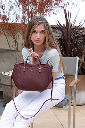 Pauline Wine Leather Handbag