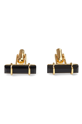 18kt Yellow Gold Vermeil Urban Cufflinks With Black Onyx