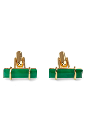 18kt Yellow Gold Vermeil Urban Cufflinks With Green Onyx