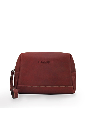 Leather Burgundy Cosmetic Bag