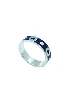 Kune Silver Blue and Black Enamel Band Ring