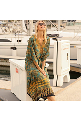 JAIPUR KAFTAN DRESS TEAL