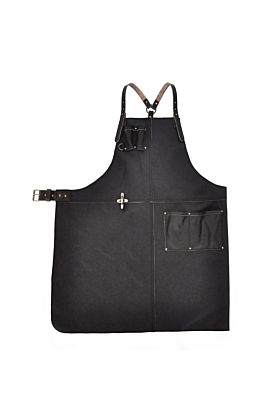 Handcrafted Leather Apron In Dark Brown