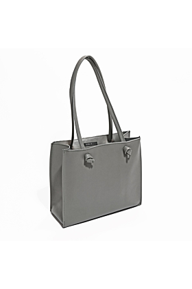Small Leather Tote Bag | Grey 'Grocery Bag'