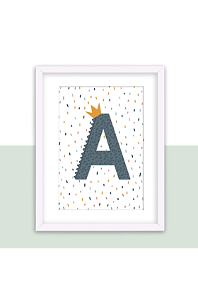 Personalised Initial, Alphabet Print in Blue