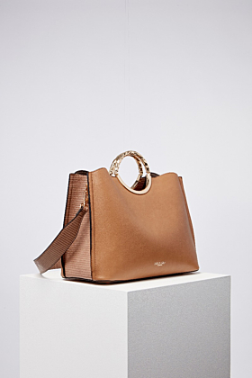 Olivia Camel Multi Compartment Tote With Shoulder Strap