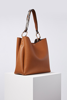 Isadora Tan Hobo With Tiger Printed Handle Bag