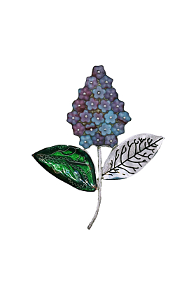 Sterling Silver Lilac Flower Brooch With Cloisonné Enamel