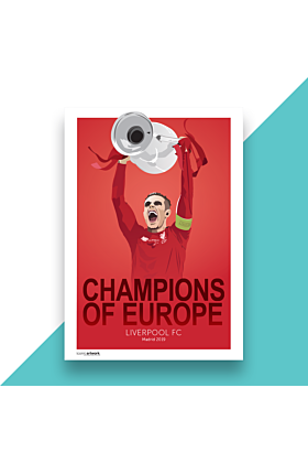 Liverpool FC Champions League Champions 2019, Hand and Digitally Drawn Poster