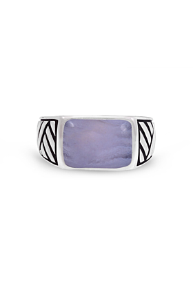 Rhodium Plated Silver & Blue Lace Agate Ring