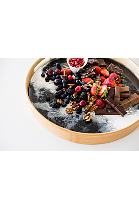 Resin Accented Bamboo Round Designer Tray