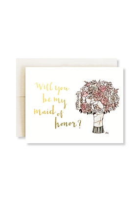 Maid of Honor with Gold Foil Wedding Greeting Card