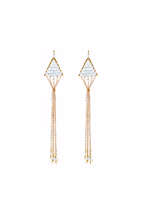Gold Plated Triangulum Aquamarine Earrings
