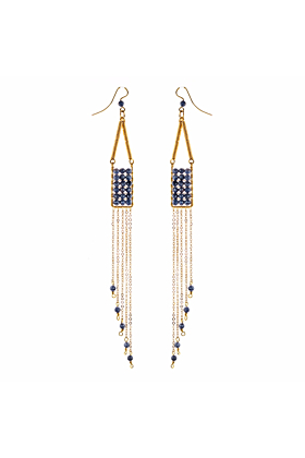 Gold Plated Manifesto Blue Sapphire Earrings