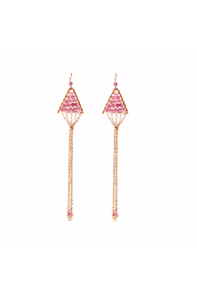 Sterling Silver Triangulum Pink Tourmaline Earrings