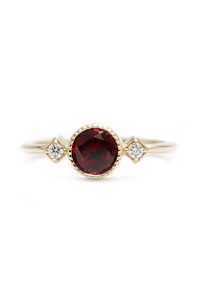 14kt Gold Red Garnet & Diamond High Quality Engagement Ring