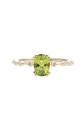 14kt Gold Oval Green Peridot Diamond Classic Engagement Ring