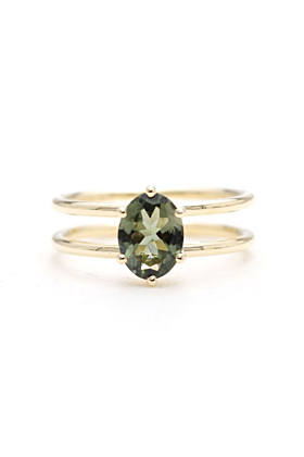 14kt Gold Solitaire Natural Green Sapphire Two-Band Engagement Ring