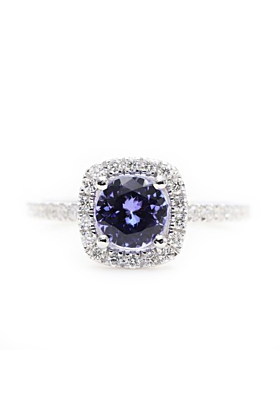 14kt White Gold Blue Tanzanite & Diamond Halo Engagement Ring