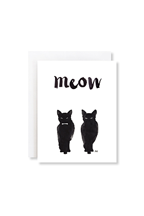 Meow Two Black Cats Greeting Card
