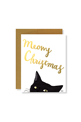 Cat Meowy Christmas with Gold Foil Holiday Card