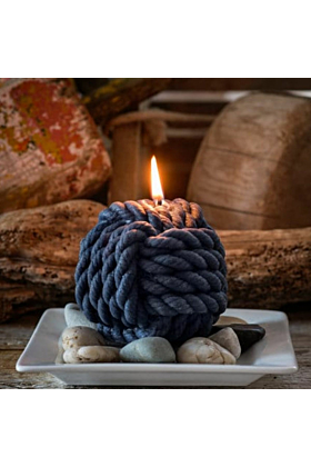 Nautical Monkeys Fist Knot Beeswax Candle