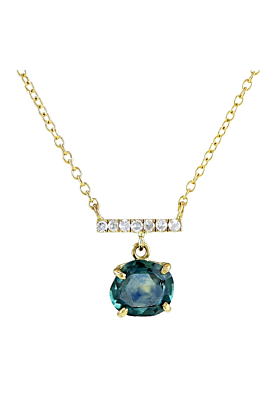 14kt Yellow Gold Montana Sapphire Necklace With Diamond Bar