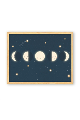 Moon Phase Print, Kids Space Décor | Navy