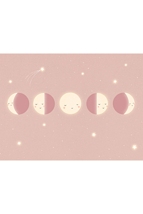 Moon Phase Print, Kids Space Décor | Pink